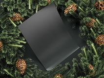 Black sheet of paper among Christmas decorations. 3d rendering Stock Photo