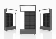 Black shelves Stock Photo