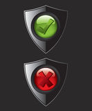 Black shield check mark icons Royalty Free Stock Images