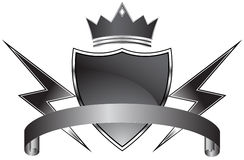 Black Shield with Crown stock illustration