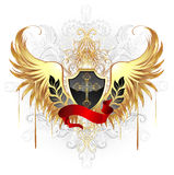Black shield with golden wings Royalty Free Stock Image
