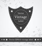 Black shield label with retro vintage styled Stock Photo