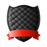 Black shield with ribbon Stock Photos