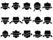 Black shield and ribbon icons set Royalty Free Stock Photos