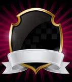 Black Shield and Silver Ribbon Stock Photo