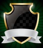 Black Shield and Silver Ribbon Stock Image
