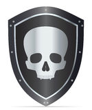 Black shield with skull Royalty Free Stock Images