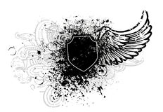 Black shield and wing Stock Image