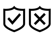 Shields with check mark and cross. Vector illustration stock illustration