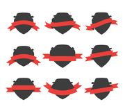 Black Shields Set. Collection of shields or badges with red ribbons wrapped around them. Blank vector signs with placeholders Royalty Free Stock Images