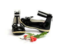 Black Shine Leather Girl Shoes . Bow Tie Royalty Free Stock Photos
