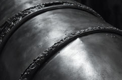 Black shining metal surface with weld seams Stock Image