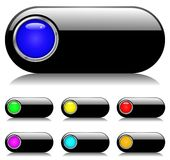Black Shiny Button Set vector illustration