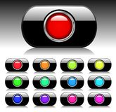Black Shiny Button Set Royalty Free Stock Image