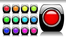 Black Shiny Button Set Stock Photo