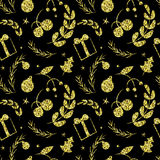 Black and shiny golden seamless simple vector graphics pattern Stock Image