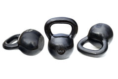 Black shiny heavy kettlebells Stock Photography