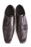 Black shiny man's shoe isolated Stock Image