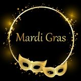 Black mardi gras carnival background with gold masks. royalty free illustration
