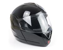 Black, shiny motorcycle helmet Royalty Free Stock Photo