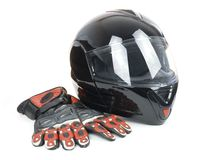 Black, shiny motorcycle helmet Stock Photography