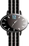 Black Shiny Oval Watch. Black shiny watch with black bracelet on white isolated background Stock Photography