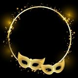 Black shiny round carnival background with gold masks. Vector illustration Stock Photos