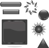 Black shiny set web button Royalty Free Stock Photos