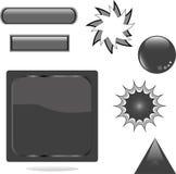 Black shiny set web button Royalty Free Stock Photos