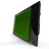 Black shiny TV with grass. Isolated on white Royalty Free Stock Image