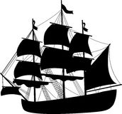 Black ship 3. Black boat of pirates. Vector illustration vector illustration