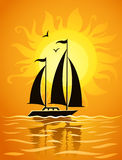Black ship silhouette on sea sunset background Stock Photo