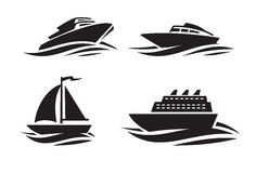 Black ships icons. Vector black ships icons on white background Royalty Free Stock Photo