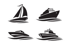 Black ships icons. Vector black ships icons on white background Stock Photo