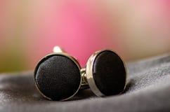 Black shirt buttons Stock Photography