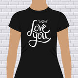 Black Shirt with Love You Message and Winged Heart Stock Photography