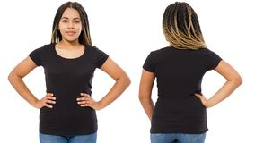Black shirts set. Summer t shirt design and close up of young afro american woman in blank template t-shirt. Mock up. Copy space. Front and back view royalty free stock photos