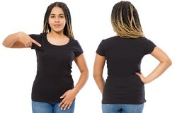 Black shirts set. Summer t shirt design and close up of young afro american woman in blank template t-shirt. Mock up. Copy space. Front and back view stock photos