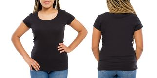 Black shirts set. Summer t shirt design and close up of young afro american woman in blank template t-shirt. Mock up. Copy space. Front and back view royalty free stock image