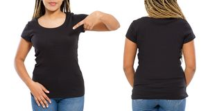Black shirts set. Summer t shirt design and close up of young afro american woman in blank template t-shirt. Mock up. Copy space. royalty free stock photography