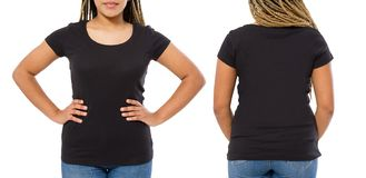 Black shirts set. Summer t shirt design and close up of young afro american woman in blank template t-shirt. Mock up. Copy space. Front and back view stock photo