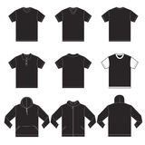 Black Shirts Template. Vector illustration of black shirts template in many variation, front and back design isolated on white Stock Image
