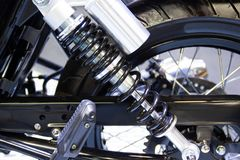 Black Shock Absorbers part of Motorcycle. Is a part for preventing shock stock photography