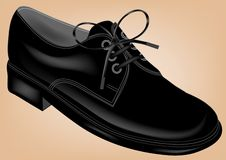 Black shoe. On brown background Royalty Free Stock Image