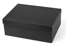 Black shoe box isolated on white. Background with clipping path Stock Photos