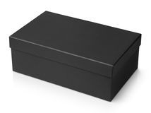 Black shoe box isolated on white Stock Images