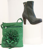 Black shoe and green bag Stock Image