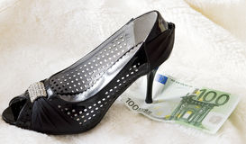 Black shoe with money. On white fur. How much we spend on shoes royalty free stock photo