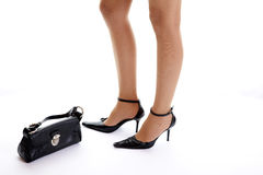 Black shoe and purse Stock Photos