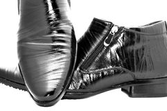Black shoes. Black shiny man's shoes Stock Photography